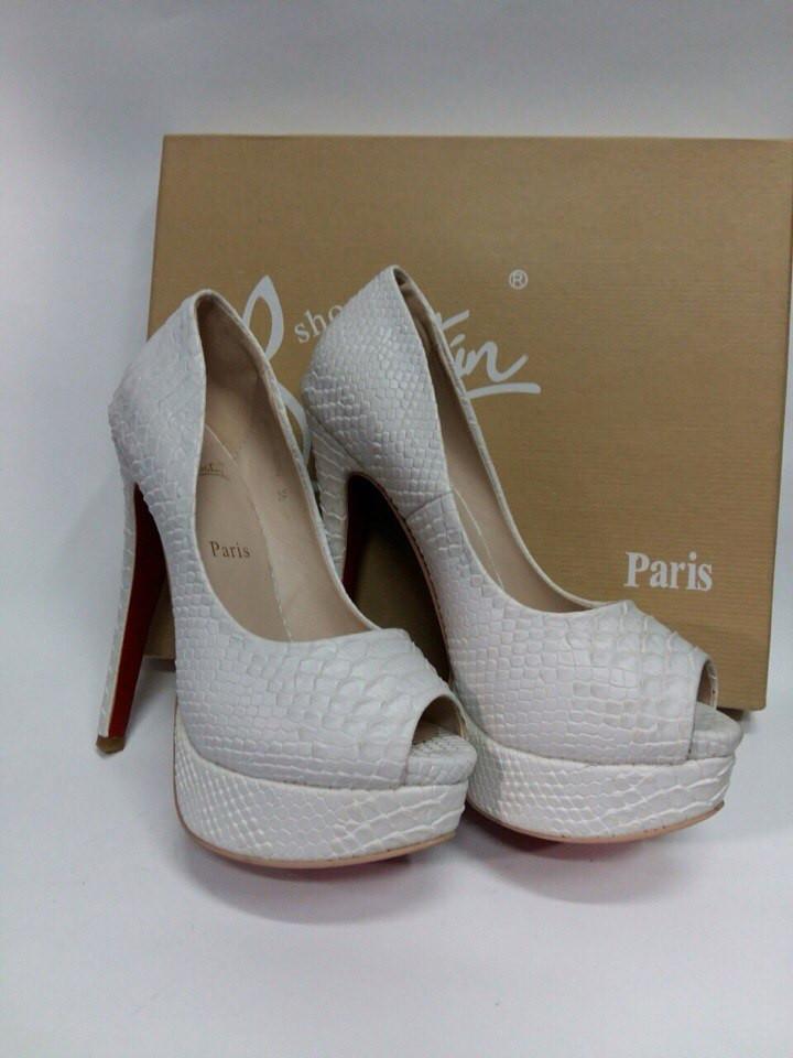 лабутены туфли: белые кожа рептилии открытый носок