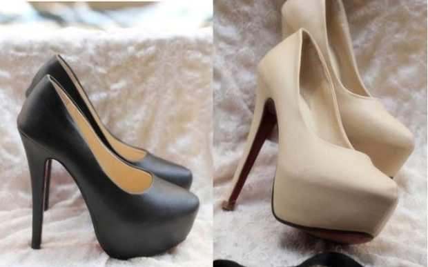 лабутены туфли: черные бежевые кожаные