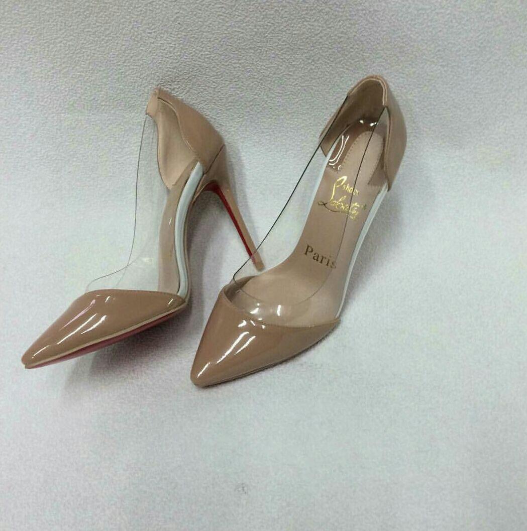 лабутены туфли: бежевые с прозрачной вставкой острый носок
