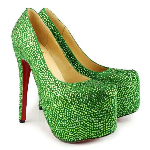 туфли лабутены фото: зеленые в блестки