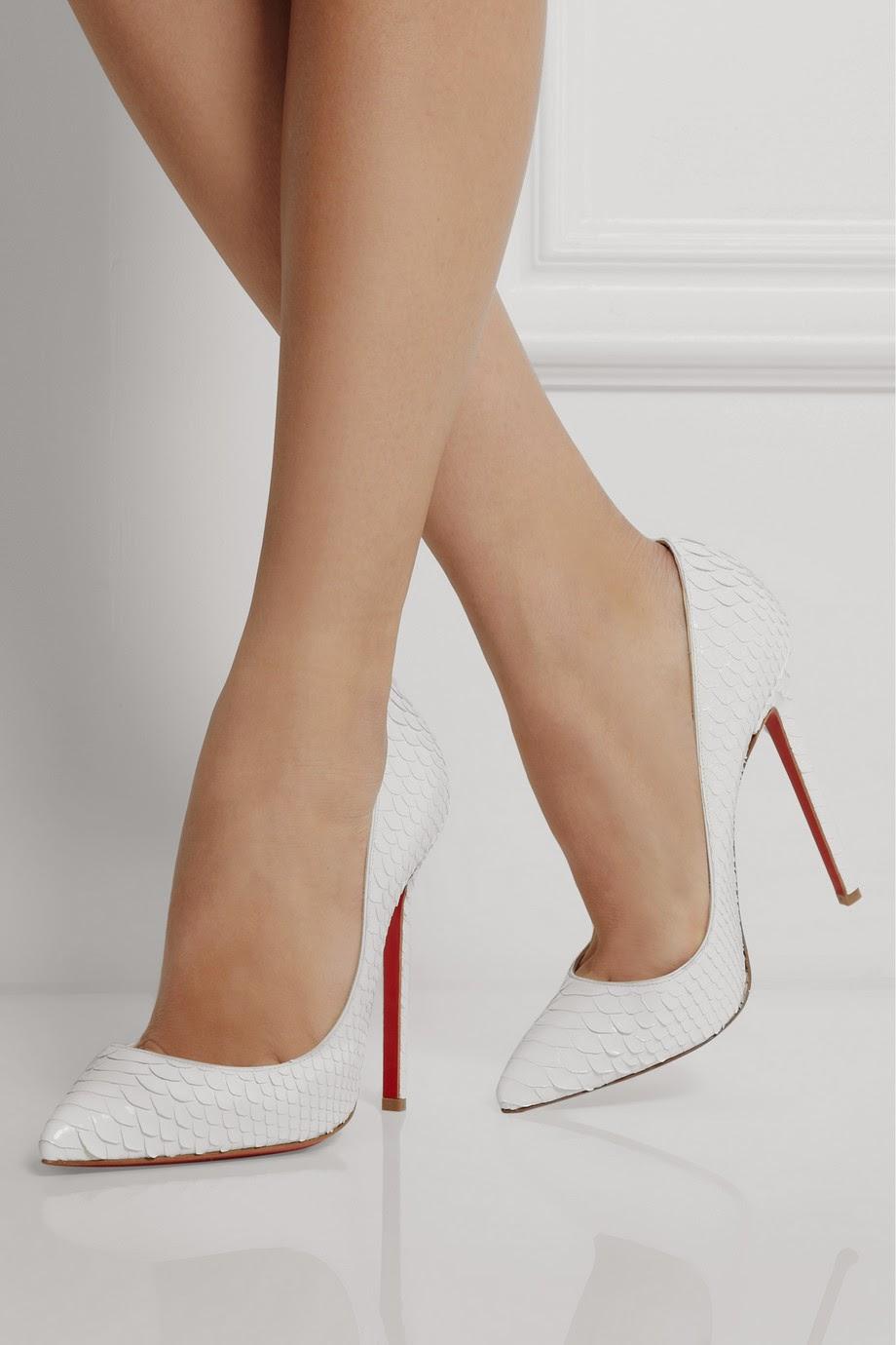 туфли лабутены фото: белые острый носок кожа рептилии