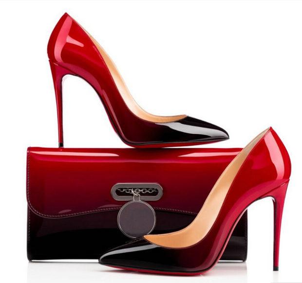 лабутены туфли фото: черные с красным переход омбре
