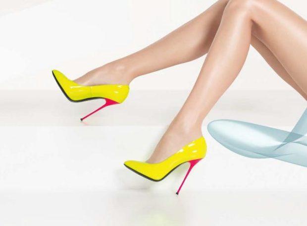 лабутены туфли фото: желтые острый носок каблук розовый