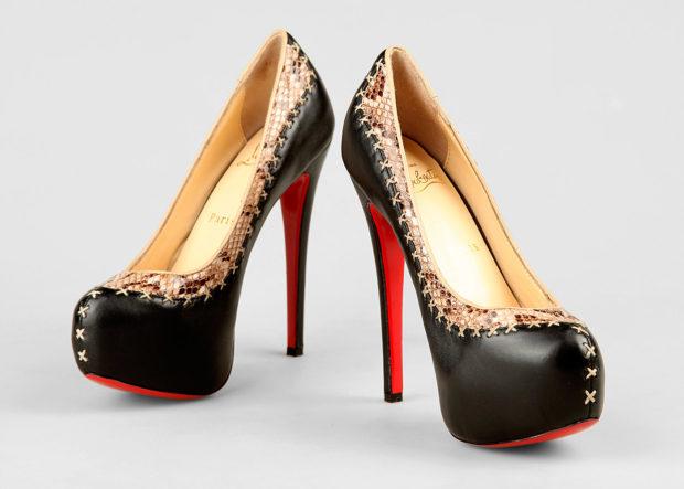 лабутены туфли фото: черные с золотыми узором