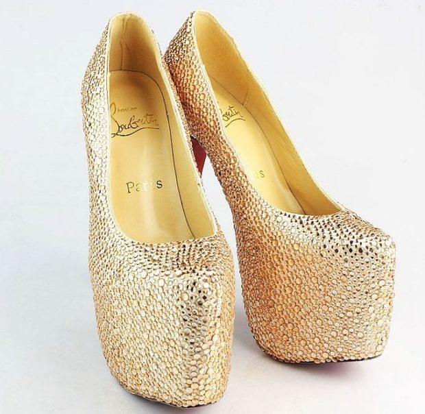 лабутены туфли фото: золотые