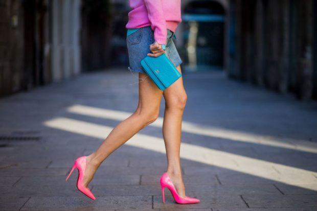 туфли кристиан лабутен: розовые под юбку джинсовую короткую