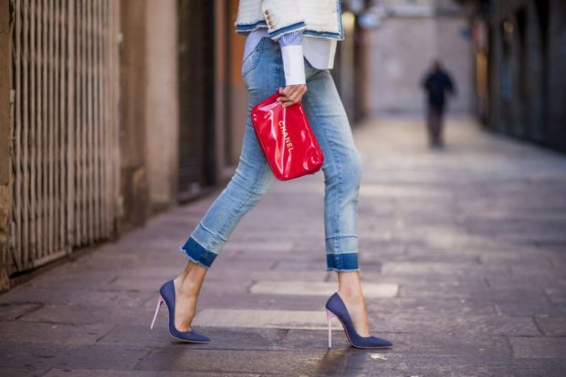 туфли кристиан лабутен: синие под джинсы укороченные