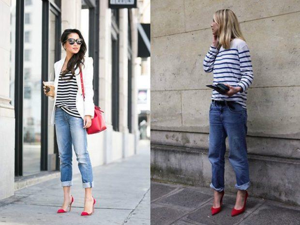 туфли кристиан лабутен: красные под синие джинсы