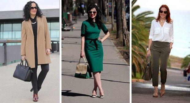 мода весна лето кому за 50: бежевое пальто зеленое платье брюки короткие под рубашку