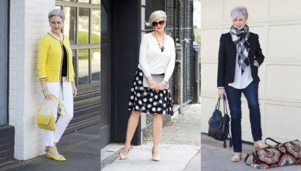 мода для женщин за 50 в 2019 году весна лето: белые штаны под желтый жакет юбка в горох