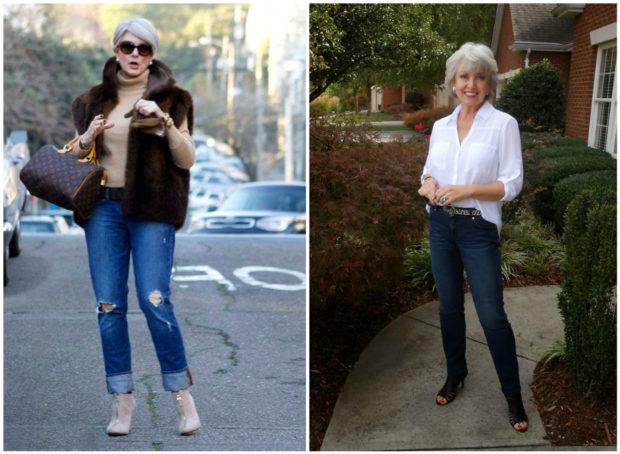 мода весна лето кому за 50: джинсы прямые рваные синие классические