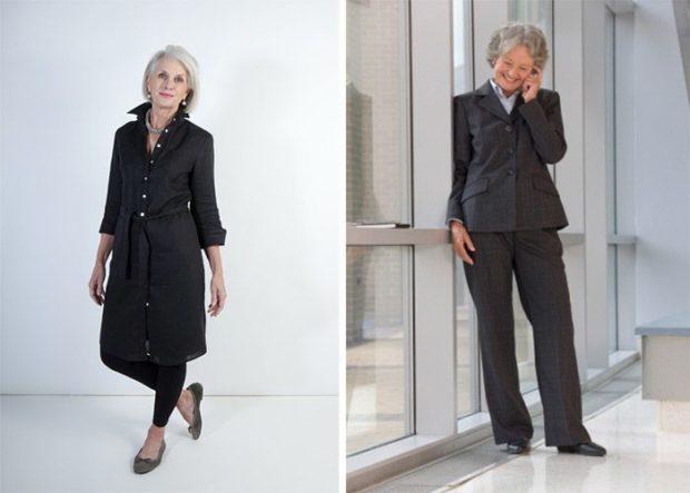 мода весна лето кому за 50: черные лосины и туника-рубашка брючный костюм черный классика