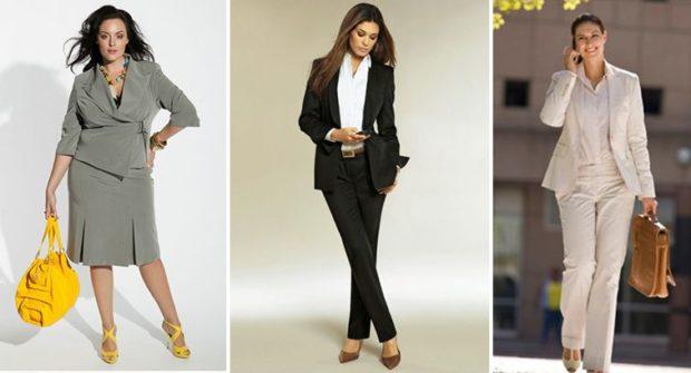 мода весна лето кому за 50: офисный стиль юбка жакет серые брючный черный костюм