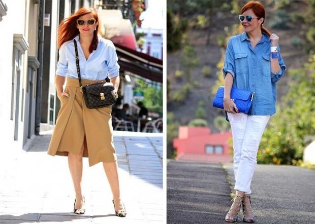 мода весна лето после 50: бежевая юбка под рубашку белые бриджи