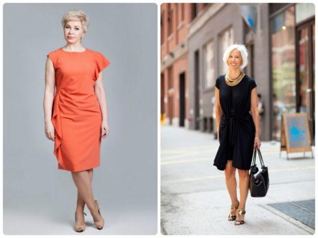 мода весна лето после 50: платье красное черное