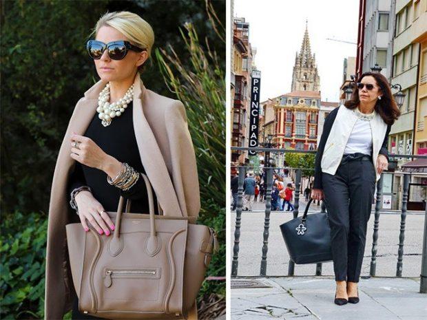 мода весна лето после 50: пальто бежевое черные брюки короткие под куртку белую с черным