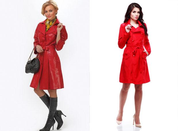 мода весна лето 2019 для женщин за 50: красный плащ кожаный тканевый