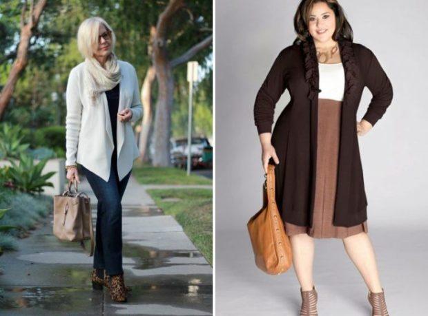 мода весна лето кому за 50: синие джинсы под белый жакет коричневая юбка кардиган