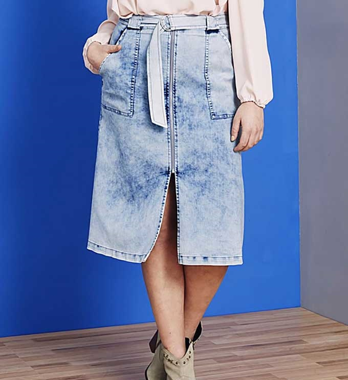 мода весна лето 2019 для женщин за 50: юбка варенка разрез спереди