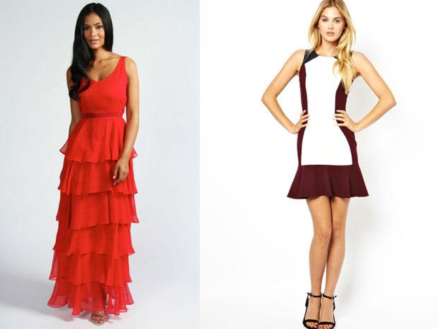 платья с воланами красное макси короткое белое с бордовым