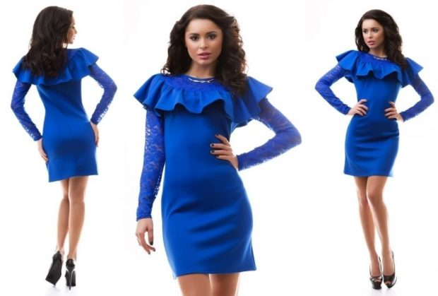 мода весна лето 2019 для женщин за 50: синее платье с воланами