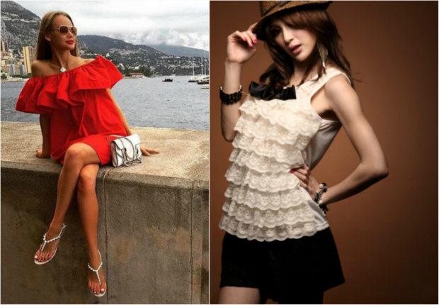 красное платье с воланами блузка с воланами