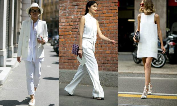 мода весна лето кому за 50: белая брючный костюм и блузку платье