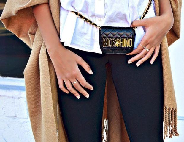 мода для женщин за 50 в 2019 году весна лето: сумка на пояс маленькая черная