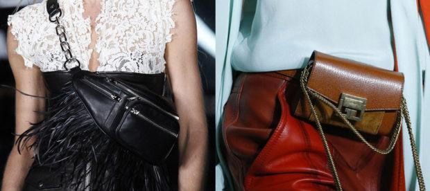 мода для женщин за 50 в 2019 году весна лето: сумка на пояс черная с бахромой коричневая