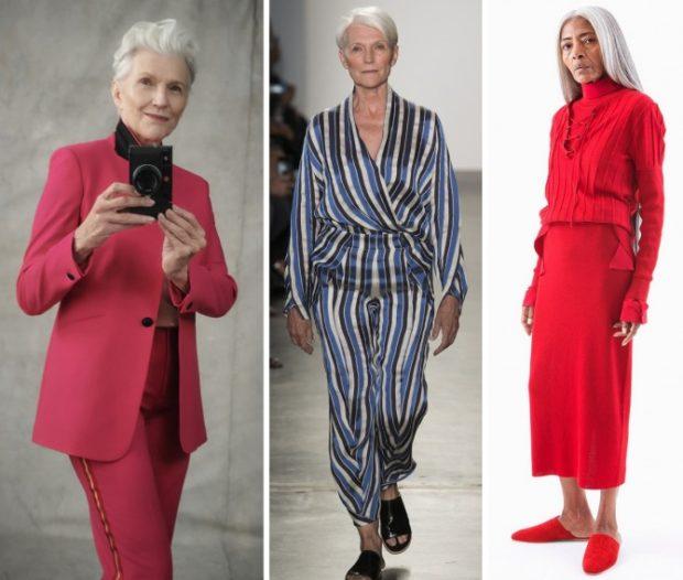 мода весна лето кому за 50: малиновый брючный костюм пижамного стиля юбка и блузка красные