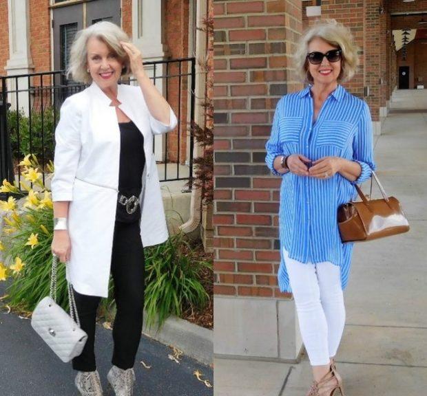 мода для женщин за 50 в 2019 году весна лето: черный брючный костюм под белый кардиган штаны
