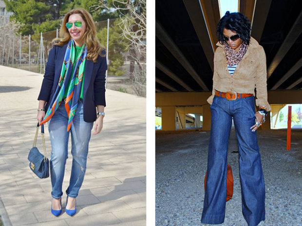 мода для женщин за 50 в 2019 году весна лето: короткие синие джинсы под жакет джинсы клеша под блузку