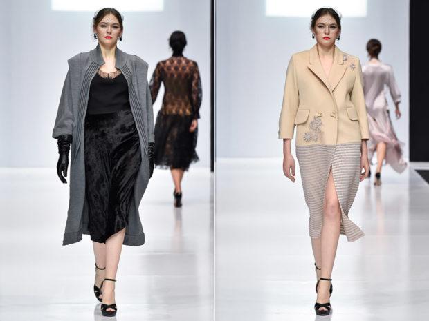 мода для женщин за 50 в 2019 году весна лето: черное платье бархатное под пальто пальто бежевое миди