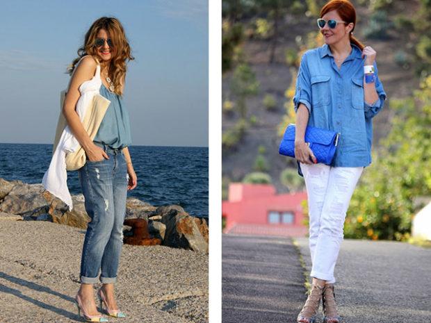 мода для женщин за 50 в 2019 году весна лето: короткие джинсы под майку белые штаны под рубашку