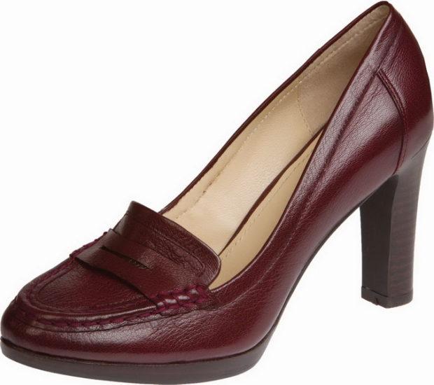 женская обувь весна лето 2019: туфли бордовые на толстом каблуке