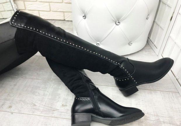 женская обувь весна лето 2019: ботфорты кожаные с замшей