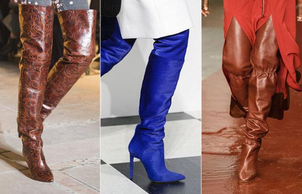 женская обувь весна лето 2019: ботфорты кожаные коричневые с вензелями синие коричневые