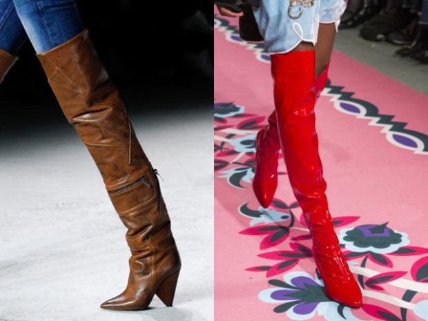 обувь весна лето 2019 фото: ботфорты коричневые красные