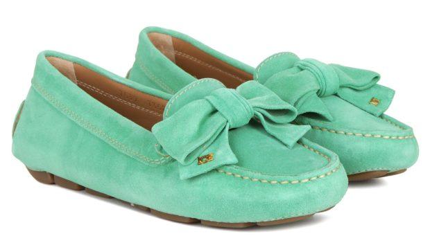 обувь весна лето 2019 фото: мокасины салатовые с бантом замшевые
