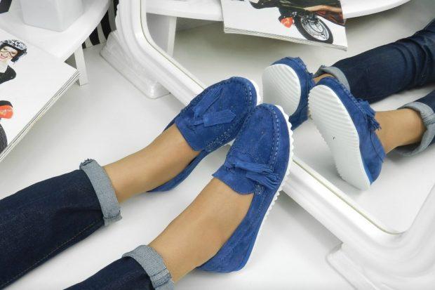 обувь весна лето 2019 фото: мокасины синие замшевые