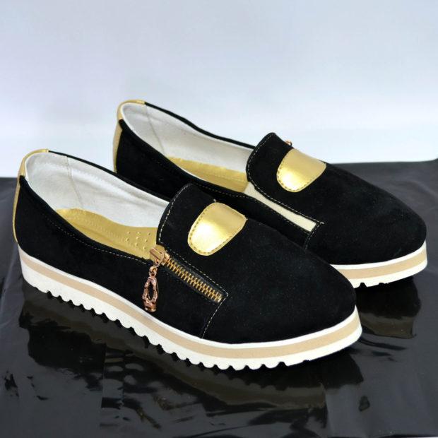 обувь весна лето 2019 фото: мокасины черные с золотом
