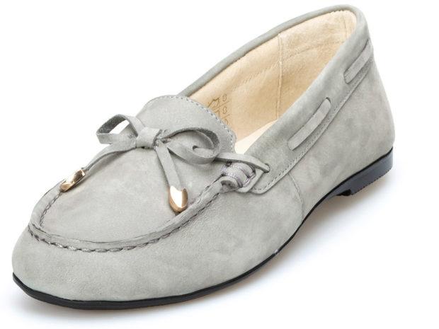 обувь весна лето 2019 фото: мокасины серые с бантиком замша