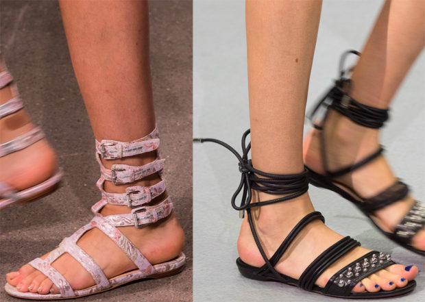 женская обувь весна лето 2019: сандалии римские светлые черные