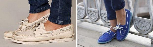 обувь весна лето 2019 фото: топсайдеры бежевые синие