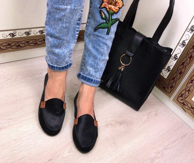 модная обувь весна лето 2019 фото: топсайдеры черные