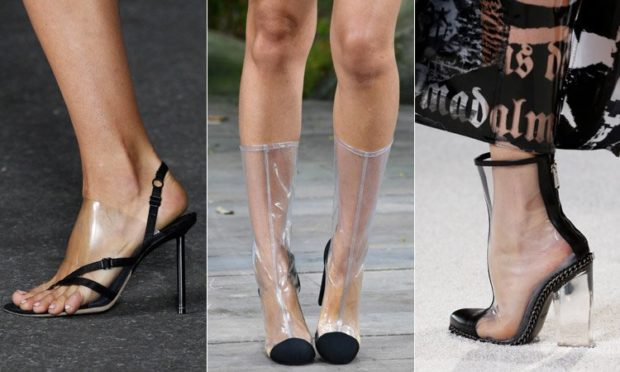 женская обувь весна лето 2019: обувь с прозрачными вставками