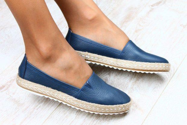 модная обувь весна лето 2019 фото: эспадрильи кожаные синие