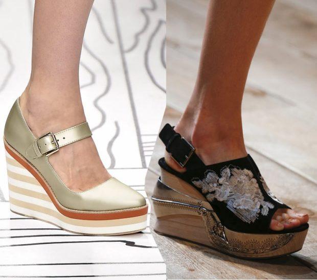 женская обувь весна лето 2019: босоножки на танкетке золотые черные в цветы
