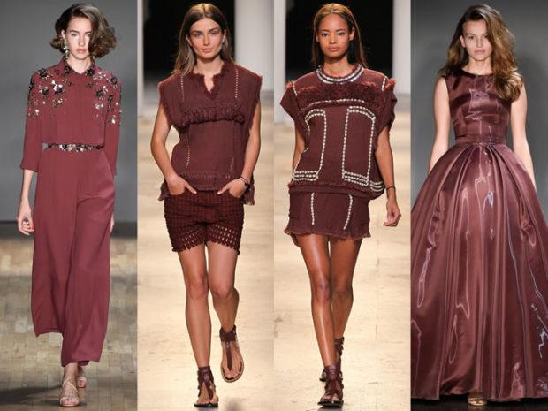цвета весна лето 2019 года: одежда красно-коричневого цвета