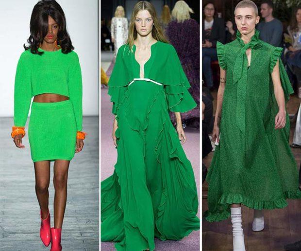 цвета весна лето 2019: одежда насыщенный зеленый